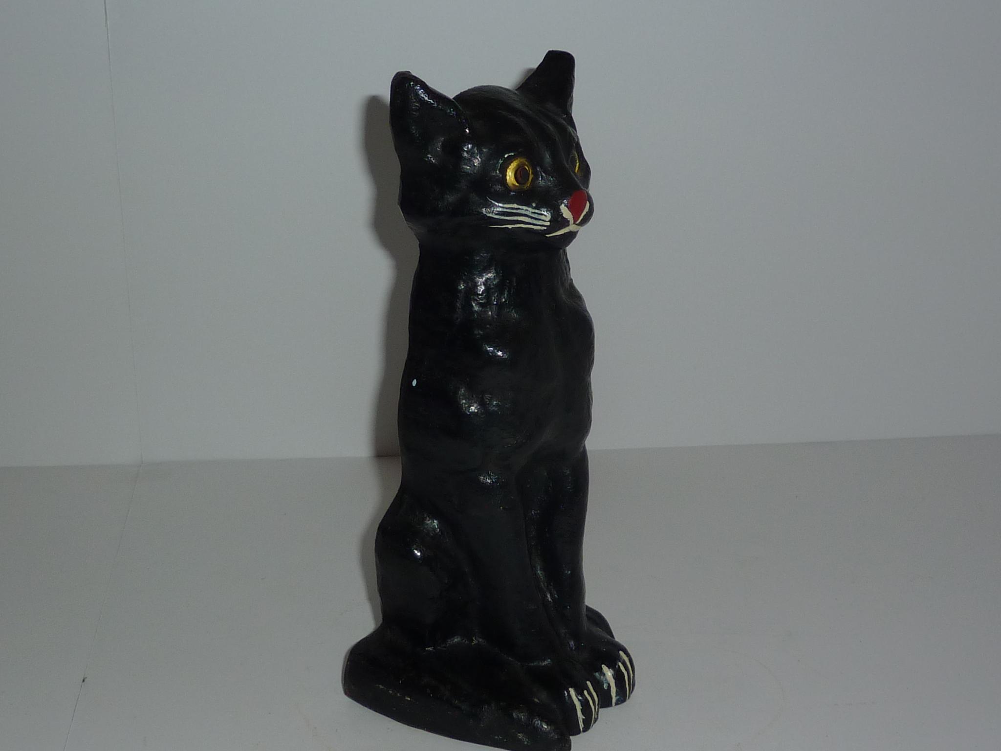 Excellent door stop sitting black cat glass eyes 9 3 4 inch antique toys usa - Cat door stoppers ...